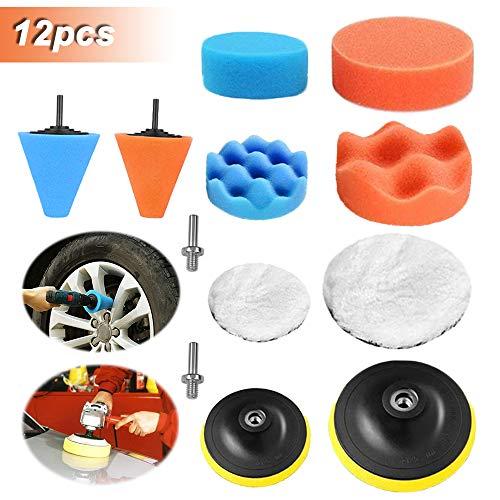 Kit de 12 almohadillas de esponja para pulido de espuma de coche de para lijado de coche, pulido, encerado, Con Adaptador de Taladro M10