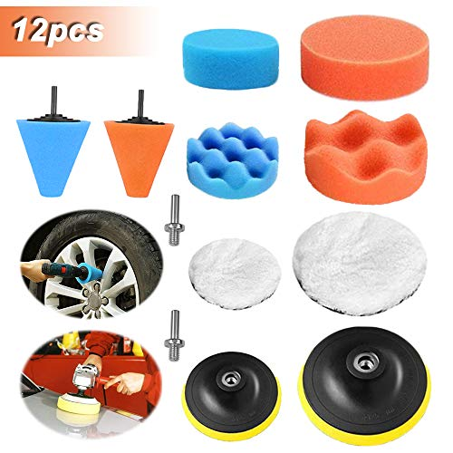 HUSTON LOWELL Polishing Pads Sponge Buffing Pads Waxing Pads with Drill Adapter for Car Polisher (12pcs)