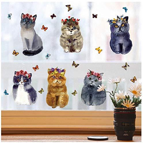 MINGKK - Pegatinas de pared, diseño de dibujos animados con gatos, perros, adhesivos de pared, para habitación infantil, habitación infantil, habitación de animales, decoración en casa