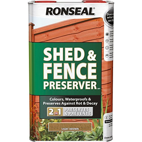 Ronseal RSLSFLB5L 5 Litre Shed and Fence Preserver - Light Brown