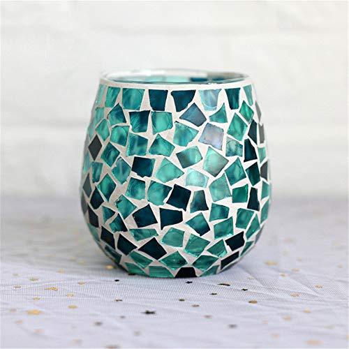 SWECOMZE Mosaik Kerzenhalter Marokkanische Windlichter aus Glas als Dekoration Orientalische Glas Teelichthalter orientalisch (11)