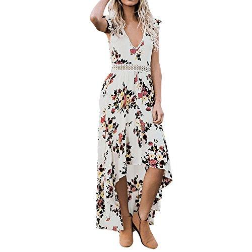 TDEOK Damen floraler tiefer V-Ausschnitt sexy offener Rücken asymmetrisches Spitzenkleid Damen Smokingrock hohles Kleid