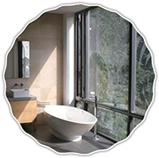 Qing MEI Simple Round Wave Bathroom Mirror Frameless Bathroom Bathroom Mirror Bathroom Wall Mirror