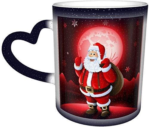 Navidad Papá Noel Copo de nieve Taza que cambia de color de invierno en el cielo Taza de cerámica Taza de café azul Regalo de cumpleaños de Navidad