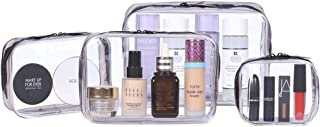 4Pcs Clear Makeup Bag, Kosiehouse Waterproof Cosmetic Organizer Bags Artist Storage Bags Zippered Travel Wash Bag Carry on Toiletry Bag Purse Handbag Organizer Pouch