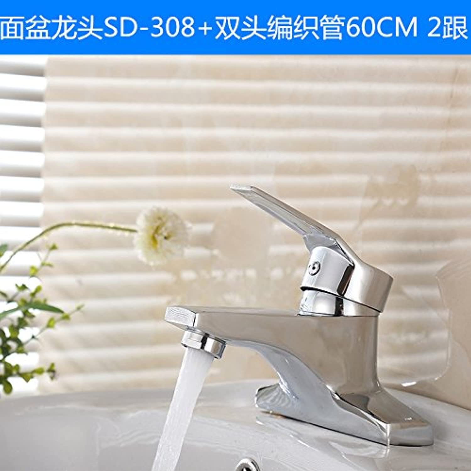Hlluya Professional Sink Mixer Tap Kitchen Faucet Basin taps and cold water tap Washbasin Faucet, hot and cold wash basins two holes dual-head of the c