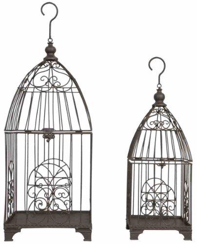 5y0083 Nichoir/mangeoire pour oiseaux – Cage – Lot de 2 à suspendre CA. 11 x 11 x 26,4/20,1 x 20,1 x 52,1 cm