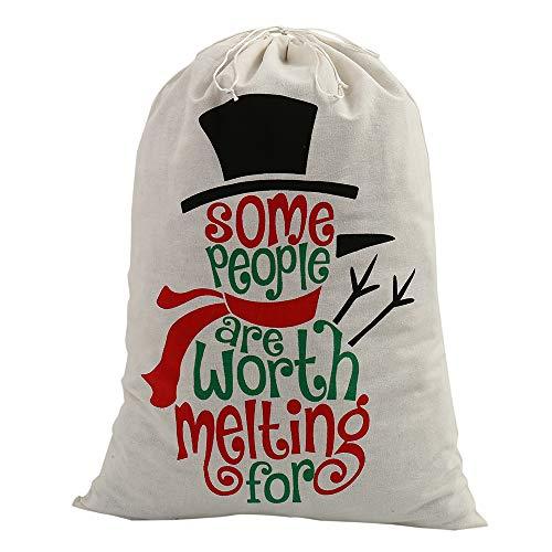 Beenle-Icey Saco de Navidad de Papá Noel de 50 x 70 cm vintage de arpillera de yute personalizado saco con cordón para niños, bolsas de regalo de calcetín de relleno decoraciones de Navidad (Snowman)