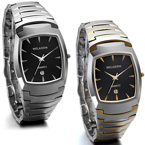 JewelryWe 2pcs Herren Armbanduhr, Luxus Edle Business Casual Kalender Analog Quarz Uhr mit Wolfram Wolframcarbid Armband, Silber Gold