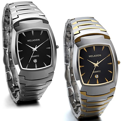 JewelryWe 2pcs Herren Armbanduhr, Edle Business Casual Kalender Analog Quarz Uhr mit Wolfram Wolframcarbid Armband, Silber Gold