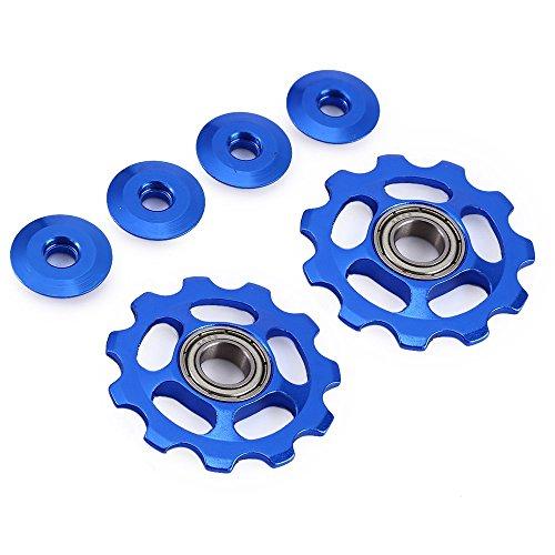 Stylrtop 2 pcs Bike 11T Aluminum Sealed Bearing Jockey Wheel Rear Derailleur Pulleys Fit Shimano SRAM (Blue)