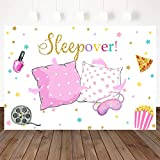Mocsicka Sleepover Party Backdrop Sleepover Pajamas Pillow Fight Pink Girl Party Decorations Slumber Party Banner Photography Background Cake Table Studio Props (5x3ft)