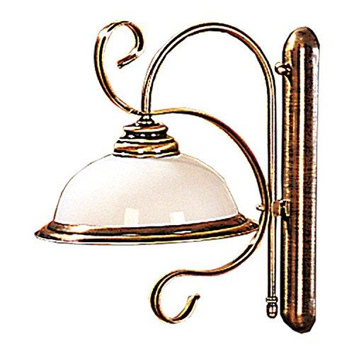 Messing Wandlampe Jugendstil filigran Glas Schirm Antike Lampe Wandleuchte Wohnzimmer Flur