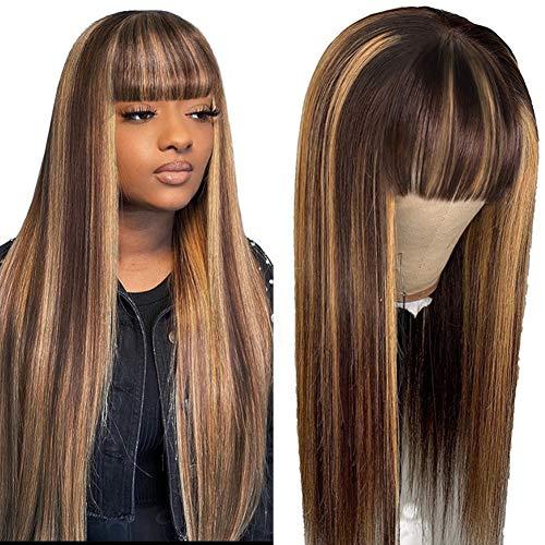 DÉBUT Echthaar perücke für schwarze Frauen Glatte Perücke mit Pony 10A unverarbeitetes brasilianisches jungfräuliches Remy-Haar 150% Dichte (26 Zoll, P4 / 30/27: Braun und Honig)