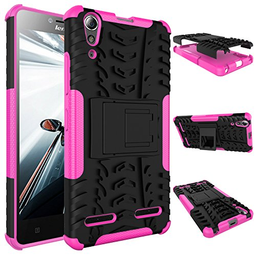 Qiaogle Phone Case - Shock Proof TPU + PC Hybrid Armor Stents Case Cover for Lenovo K3 / A6000 (5.0 inch) - HH16 / Black & Rose