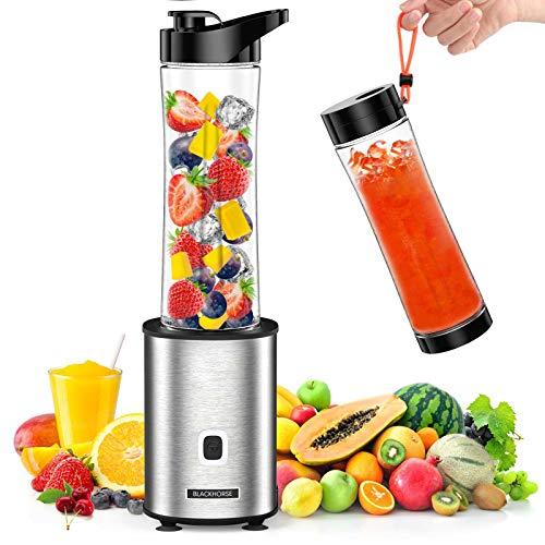BLACKHORSE Mini mixer smoothie maker, Mini-Standmixer mit 2 570ml smoothie flasche , 500W