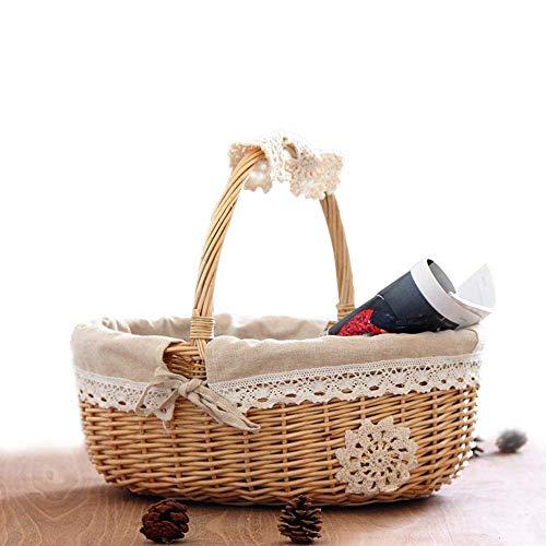 XIAMUSUMMER Einkaufskorb, Geschenkkorb, Weidenkorb mit Henkel, Picknickkorb Leer Mit Innenfutter, Präsentkorb Klein für Picknick, Obst, Blumen