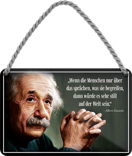 """schilderkreis24 – Blechschild Schöner Albert Einstein Spruch Zitat """"Wenn die Menschen nur."""" Deko Glück Positiv Denken Leben Nachdenken Hängeschild Geschenkidee Geburtstag Weihnachten 18x12 cm"""