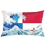 gong Bandera de Panamá y Wave Off Kanagawa Fundas de Almohada Fundas de Almohada Decorativas Funda de cojín Suave y acogedora con Cremallera