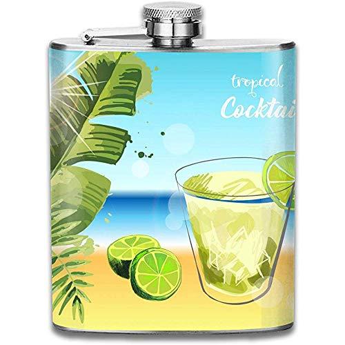 Kühle tropische Limette Cocktail Meer im Freien tragbare Edelstahl auslaufsicher Alkohol Whisky Schnaps Wein Topf Flachmann