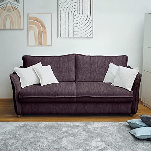 place to be. M12140 - Sofá cama (160 cm de ancho, con cajón, 3 plazas, plegable, madera de haya maciza), color berenjena