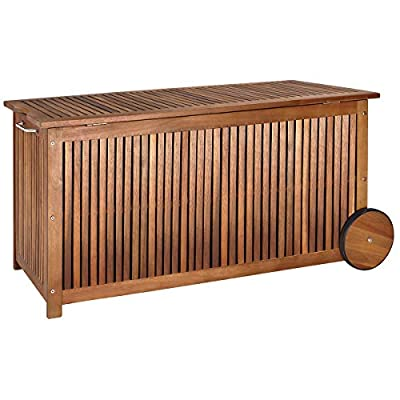 cucunu 46x20x24 Inch Deck Box in Acacia Wood with a water-repellent Tarpaulin I 65 Gallon Wooden Patio Storage Box for Indoor or Outdoor Cushion Storage