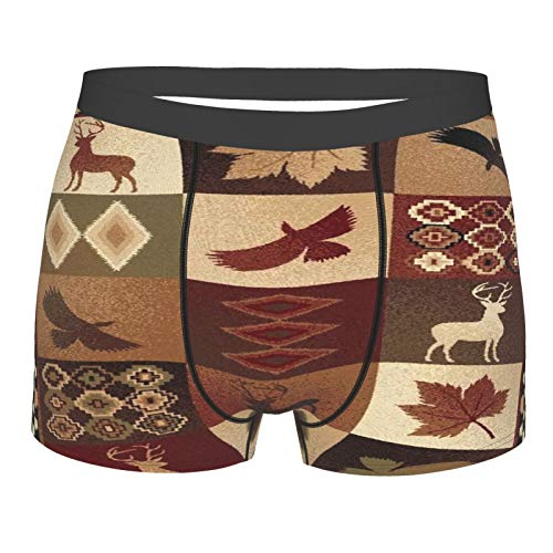 Herren-Unterhose mit Ahornblatt-Motiv, rustikaler Elch, Wildgans, Boxershorts für Jungen, Jugendliche, Polyester, Spandex, Komfort Gr. L, Schwarz