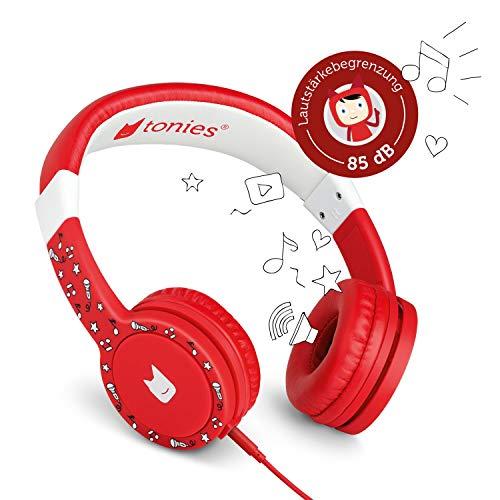 Tonie-Lauscher rot: Kinder Kopfhörer passend zur Toniebox - Lautstärke reguliert, Abnehmbares Kabel, Größenverstellbar, Bewegliche Ohrmuscheln
