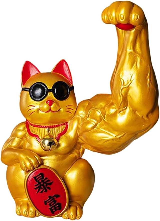 Muscle Arm Lucky Cat Figurines Creative Decoration Accessor Superlatite Home Deluxe