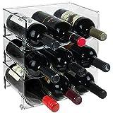 Eltow Plastic Wine Bottle Holder- Stackable Racks, Vertical Standing Display Stand- Modern Decorative Organizer for Fridge, Kitchen Countertops, Pantry, Cupboards, Cabinets-Holds 3 Bottles – 3 Pack
