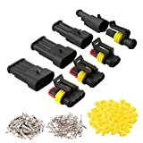 QitinDasen 30 Set Profesional Coche Impermeable Cable Eléctrico Conector Kit, Conectores Sellado Impermeable, Coche Impermeable Rápido Enchufe Terminal (1 Pin 2 Pin 3 Pin 4 Pin)