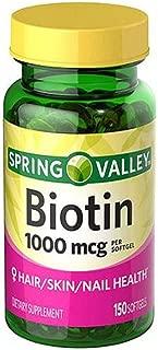 New Spring Valley Biotin 1000mcg 150 Softgels Skin Hair Nail Health Supplement