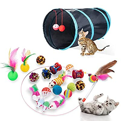DONO 21Pcs Cats Feather Toys-Kitten Interactive Pet Toys Assortments (Black, 2 Way Hole Tunnel) Feather Wand Fun Ball Chew Sticks, Fluffy Mouse, Fake Mice, Crinkle Balls, Bell Play Supplies