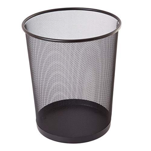 TIPTOP OFFICE TTO Papierkorb aus Drahtmetall 19 Liter, Kunststoff, Schwarz, Large