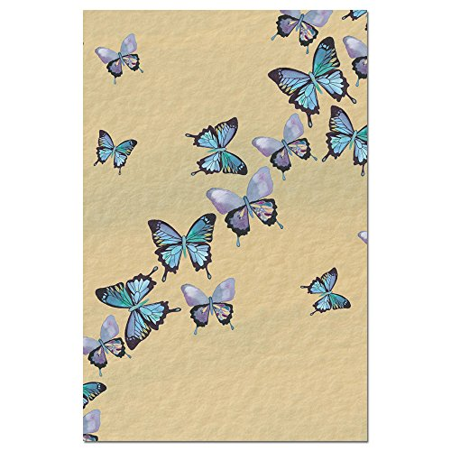 """Tree-Free Greetings EcoNotes Stationary- Blank Note Cards with Envelopes, 4"""" x 6"""", Blue Butterflies in Flight, Boxed Set of 12 (FS66475)"""