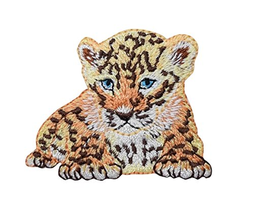Baby Leopard - Cub - Laying Down - Safari Animals - Embroidered Iron on Patch