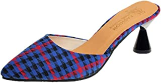 lcky Houndstooth Half Slipper Pointed Toe Women's Shoes Color Matching high Heels