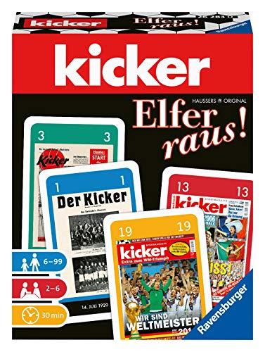 Ravensburger 26283 - kicker Elfer raus. - Spiel für Fußballfans, für Erwachsene und Kinder ab 6 Jahren, beliebter Kartenspiel-Klassiker im kickerDesign für 2-6 Spieler