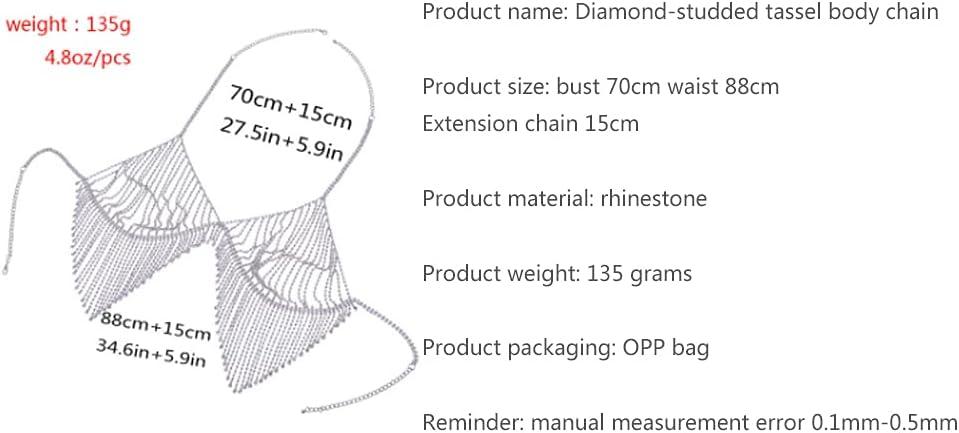 Women's Body Chain Sexy Diamond-Studded Tassel Body Chain Bikini Breast Chain Body Clothing Chain