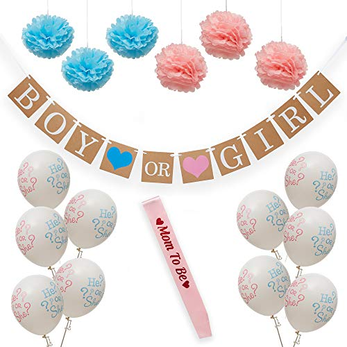 Gender Reveal Decorations  Boy or Girl Baby Party Supplies  Banner/Pom Flowers/Mom Sash  5 Blue/Pink He or She Balloons  Baby Shower Decoration  Baby Reveal  Pink and Blue Party Supplies
