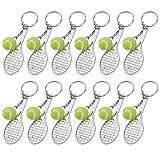 MengH-SHOP Sport Schlüsselanhänger Mini Tennisschläger Schlüsselanhänger Metall Tennis Schläger Schlüsselring für Tennisliebhaber 12 Stück