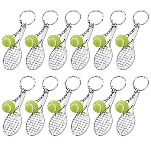 MengH-SHOP Llavero de Deporte Mini Llavero de Raqueta de Tenis de Metal Llavero de Pelota de Tenis Creativo para Amantes del Tenis 12 Piezas