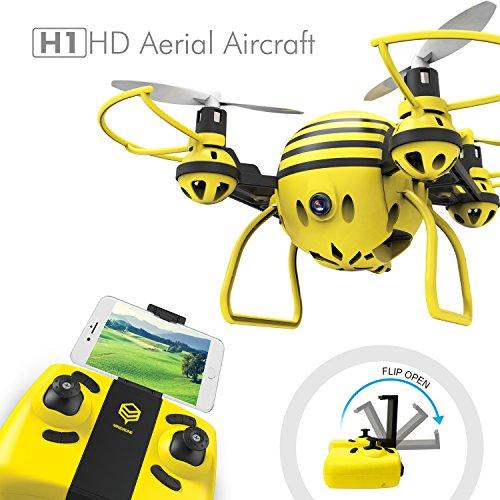 H1 RC Mini Drone con Wifi FPV Cámara HD,2.4GHz 4CH 6 Ejes Girocompás RC Quadcopter con control de altura y Modo Headless,Bueno para principiantes, niños(Abeja amarilla)