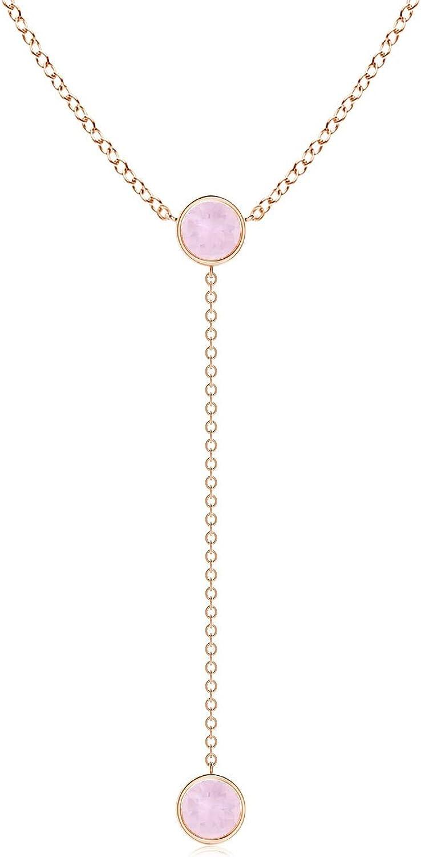 Bezel-Set Round Rose Quartz Lariat Style Necklace (5mm Rose Quartz)