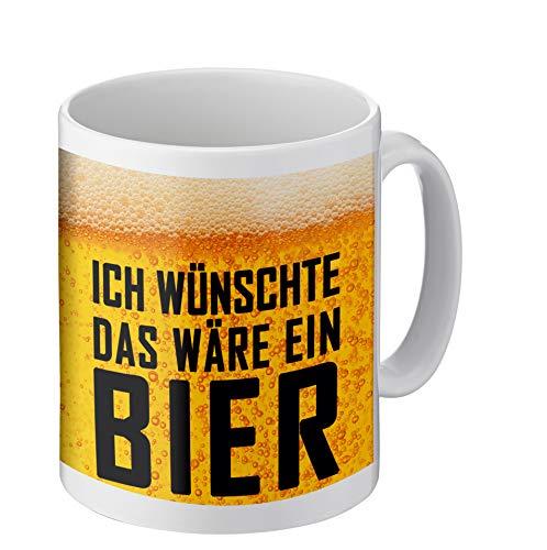 Tasse mit lustigem Spruch | Ich wünschte das wäre EIN Bier | Kaffeetasse beidseitig Bedruckt | Geschenke für Männer, Freunde, Familie oder Lieblingskollegen I Geschenkideen