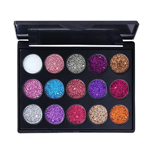 TIREOW Langlebige Glitter Lidschatten Palette, 15 Farben Shades Glänzend Und Pigmentiert...