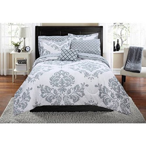 Contemporary Damask Pattern Classic Noir Bed In A Bag Bedding Set (Twin/Twin XL, Gray)