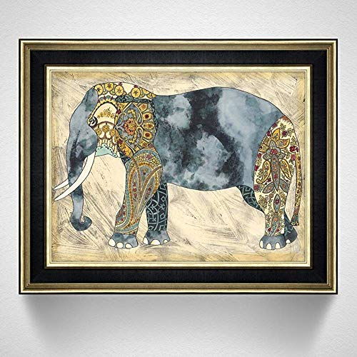 Home Renovation Furnishings Electric Meter Decoration Painting Fashion Clamshell Meter Box Painting Stainless Steel Rod Elephant Pattern PS Picture Frame Living Room Entrance