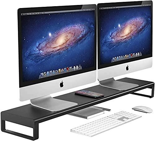 Vaydeer Dual Monitor Stand Riser, aluminium monitorstandaard, ondersteunt gegevensoverdracht voor 2 monitoren, metalen monitorstandaard, ondersteuning tot 32 inch voor pc, laptop, zwart