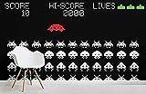 ZZXIAO Space Invaders Mural Wallpaper Pintado a papel Papel tapiz 3D Decoración dormitorio Fotográfico Fotomural sala sofá pared mural-300cm×210cm